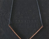 Geometric Minimalist Necklace - Copper and Sterling Silver - Chevron