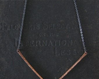 Geometric Minimalist Necklace - Copper and Sterling Silver - Chevron