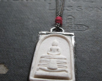 Thai Buddha in Handmade Silver Setting - Rustic Clay Amulet Necklace