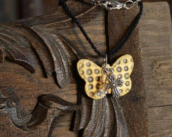 Necklace - Yellow Butterfly Pendant - Handmade Ceramic
