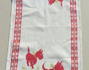 Vintage Towel Adorable Scotty Dogs Frolic
