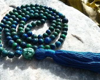 Chrysocolla Mala - Prayer Beads - Buddhist Rosary with Turquoise Buddha! - Green and Blue