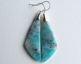 Teal Blue and White Quartz Earrings Handmade in Seattle with Sterling Silver - Smooth Natural Gemstone Dangle Earrings - One of a Kind Stone