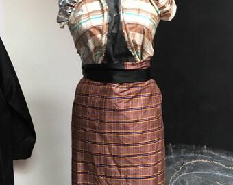 silk wrap skirt Tartan wild silk