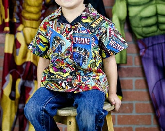 Little Boys Superhero Shirt - Bowling Shirt - Toddler Boy Clothes - Marvel Superhero Birthday Party - Boutique Boys - 3T to 16 yrs