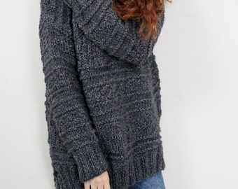 Hand knit oversized sweater wool woman sweater long sweater Charcoal pullover sweater