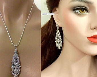 Art Deco Bridal Jewelry Set, Gatsby Wedding Earrings, Statement Bridal Necklace, Crystal Bridal Earrings, Necktie Wedding Necklace, NECKTIE