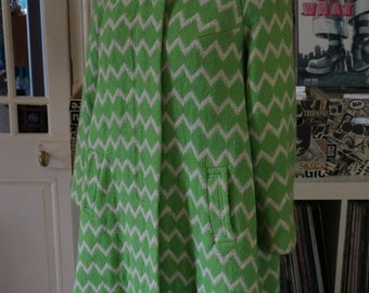 vintage green white chevron swing coat 1960s 60s mod twiggy
