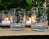 Set of 4 'Branches and Leaves' Clear Glass Votive Holders Spring Decor Summer Wedding Candle Favors