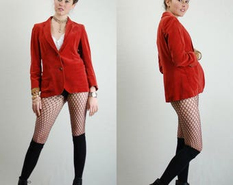 Velvet Jacket Vintage Paprika Preppy Boho Structured Velvet Blazer Jacket (s m)