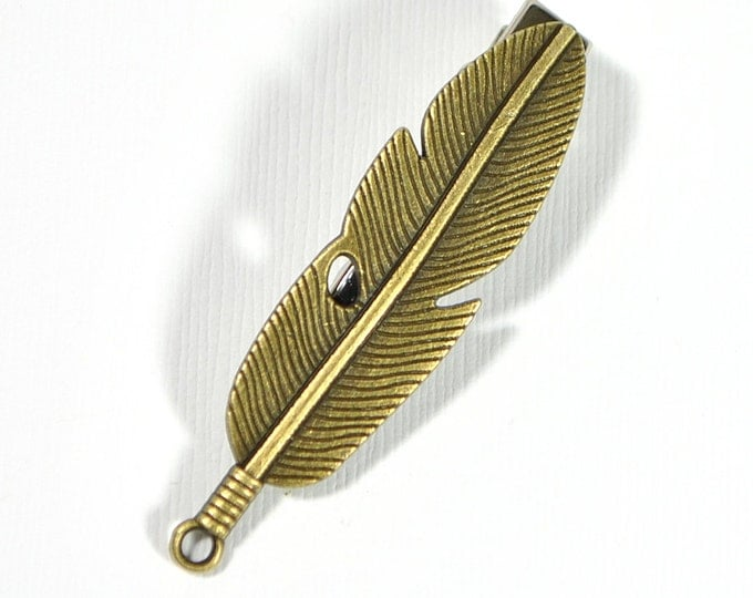 Feather Hair Clip Bronze Feather Hair Accessories Feather Jewelry Boho Alligator Clip