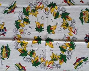 TCS013 ~ Souvenir tablecloth Canada map Provinces Territories Collectible tablecloth Vintage