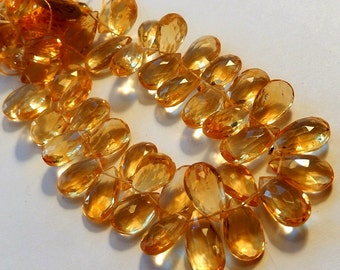 AAA Citrine Gemstone, Faceted Pear Briolette 14 to 15mm. Semi Precious Gemstone Bead. Pairs or Non Match 1 to 9 Briolettes  (fct)