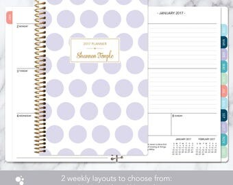 2018 planner | 2017-2018 calendar | weekly student planner add monthly tabs | personalized planner agenda | lavender and gold polka dots