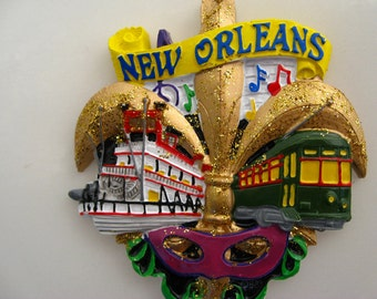 "New Orleans Christmas Ornament Fleur de Lis Christmas Decoration Nola Louisiana French quarter NOLA gift party favor Street car Trolley ""L"""