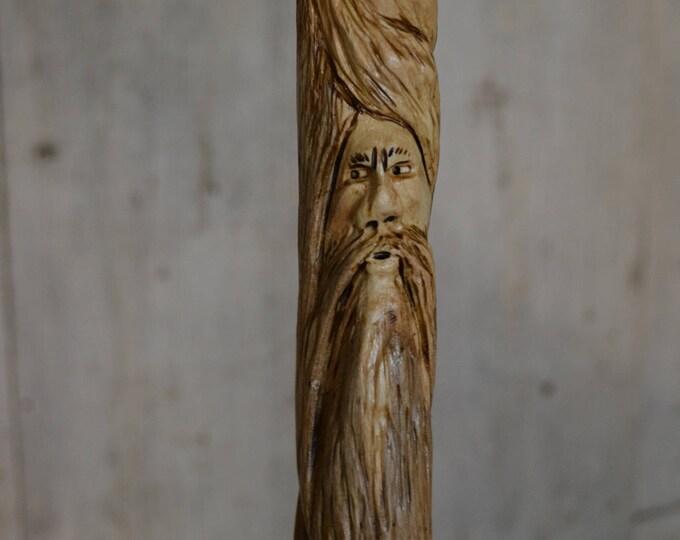 Wood Spirit Walking Stick, Whimsical Carving, Handcarved Woodspirit Hiking Stick, Hand-carved Mountain Man Wood Carvers of Etsy 1633