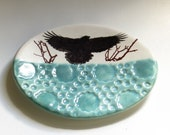 Crow Ceramic Dish Tea Bag Holder Spoon Rest Raven Porcelain Home Decor