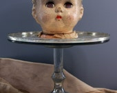 Large Vintage Composition Doll Head- Creepy Eyes- Scary Doll Part- Antique Doll- Distressed Worn Patina- G24