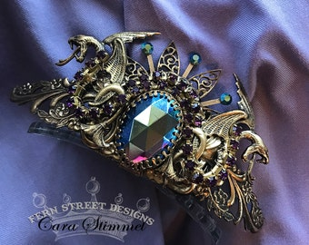 Tiara of Power, Jeweled Dragon Crown, Steampunk Hair Accessory, Purple jeweled crown,  Made in USA