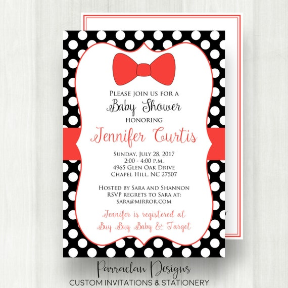 Baby Boy Shower Invitations, Bow Tie, Red, Printable, Digital File