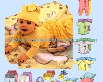 McCalls 3665 Babys Layette Coveralls Top T Shirt Bodysuit Romper Pants Diaper Cover Blanket Booties Bib Hat size NB S M L Sewing Pattern