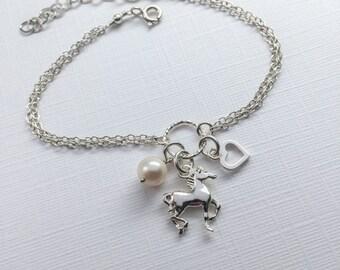 Sterling Silver Horse Bracelet - Love My Horse bracelet