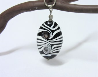 1pc - Black and White Glass Lampwork Bead Pendant