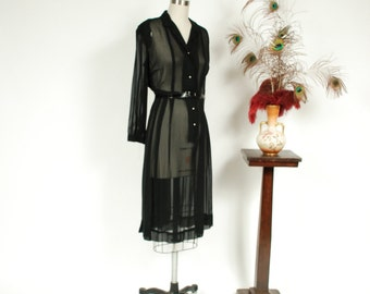 Vintage 1940s Dress - Bewitching Black Rayon Sheer Chiffon 40s Shirtwaist Day Dress with Pintucked Bodice