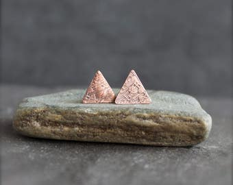 Triangle Post Earrings - Etched Copper, Sterling Silver, 10mm, Rustic Texture, Metalwork Boho Jewelry
