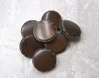 Sepia Brown Buttons, 27mm 1-1/8 inch - Chocolate Brown Coat Shank Buttons - 7 VTG NOS Dark Brown Vintage Buttons with Pie Crust Rims PL509