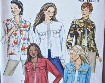 Butterick Classics Easy Sewing Pattern P445 Misses' and Petite Denim Jacket or Vest Collar Variations UNCUT Factory Folds Sizes 8-10-12-14