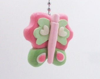 Butterfly Fan Pull Chain - Butterfly Themed Room - Butterfly Nursery - Girl's Room Decor - Pink and Green - Polymer Clay