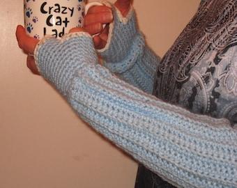 Arm Warmers Blue Bling Fingerless Gloves