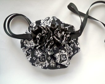 Jewelry Travel Pouch, Small Drawstring Bag, Black and White,  Damask Pattern, Ribbon Drawstring, Small Jewellery Holder
