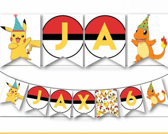 Instant Download - Editable Personalized Pokemon Birthday Party Banner