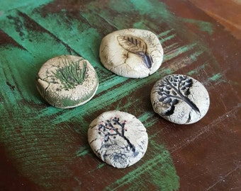 Handmade ceramic cabochons - clay cabs - stoneware