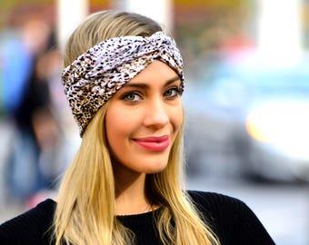 Leopard Headband Cheetah Print Yoga Headband Turban Headband Bohemian Style Festival Fashion Soft Headband Summer Fashion Beach Wear