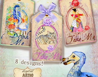 Hand Drawn Alice in Wonderland Gift Tags, Alice in Wonderland Printable Tags, Drink Me, Eat Me, Take Me,Open Me, Alice in Wonderland Decor