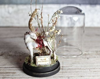 Unicorn Zombie Terrarium in a Miniature Glass Dome Display - Dried Flowers - Goth Decor - 2.75 x 1.73 inches / 7 x 4,4 cm