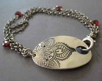 Mehndi Flower Bracelet, Garnet Sterling Silver Bracelet, Fine Silver Bracelet, Luxury Gift, Anniversary Gift, January Birthstone