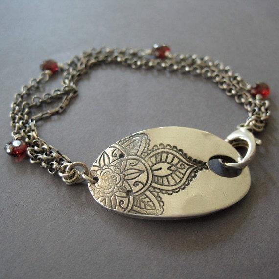 Flower Bangles Mehndi : Mehndi flower bracelet garnet sterling silver fine
