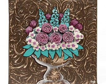Floral Canvas Art Still Life Painting - Teal and Wine Sculpted Roses - Small 10x10