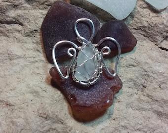 Guardian angel ornament - sea glass ornament - sun catcher - rear view mirror charm - pendant - gift under 10 dollars