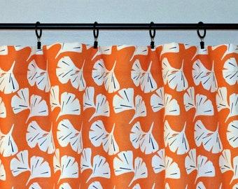 Orange Valance, Premier Prints Gingko Monarch Orange Leaf Leaves, Orange white, Choose size