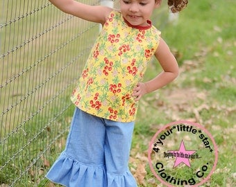 Country Farm Collection Cherry Allie Top and Chambray Ruffle capris - Available in sizes 12 mos girls size 10 infants, toddlers, girls