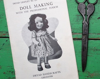 Doll Making with the Professional Touch - Vintage Dryad Leaflet No. 123 UK - 1940s 1950s sewing patterns soft cloth dolls black doll 40s 50s
