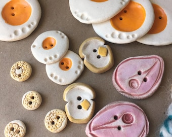 SALE - Lot of Buttons - Handmade Ceramic Buttons - Breakfast