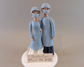Bride & Groom Personalized Doctor Wedding Cake Topper