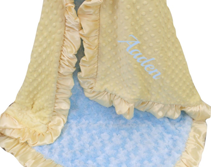 Personalized Yellow and Baby Blue Minky Blanket, Embroidered Vintage Colors Swaddle Blanket Blue and Yellow Ruffle Blanket