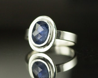 Blue Sapphire Ring - Sterling Rose Cut Oval Sapphire Engagement Ring